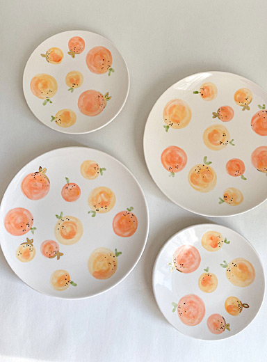 Meg Does Pottery Tangerine Clementine ceramic plates  Set of 4