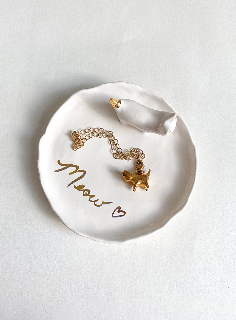 Meg Does Pottery White Sculpted kitten ceramic jewellery tray 2 sizes available