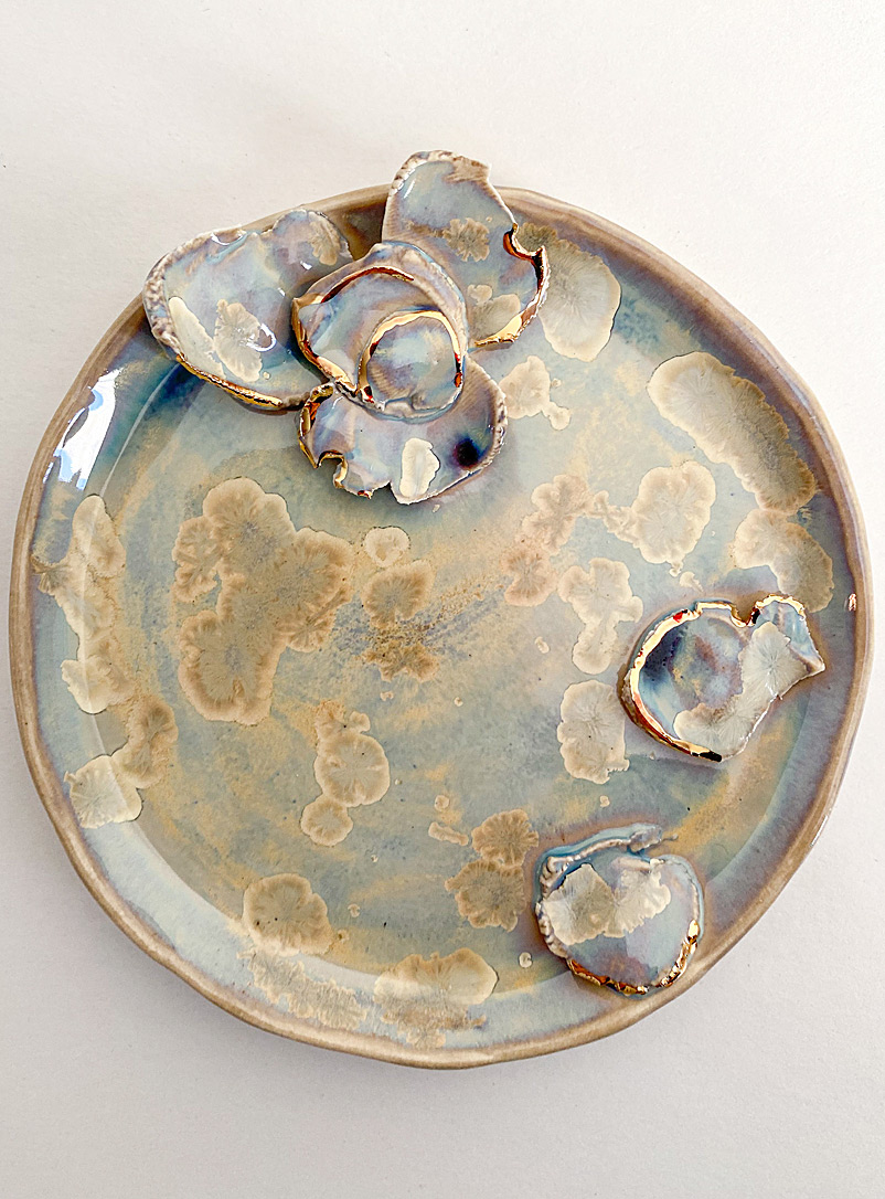 Meg Does Pottery Blue Golden flowers iridescent small tray