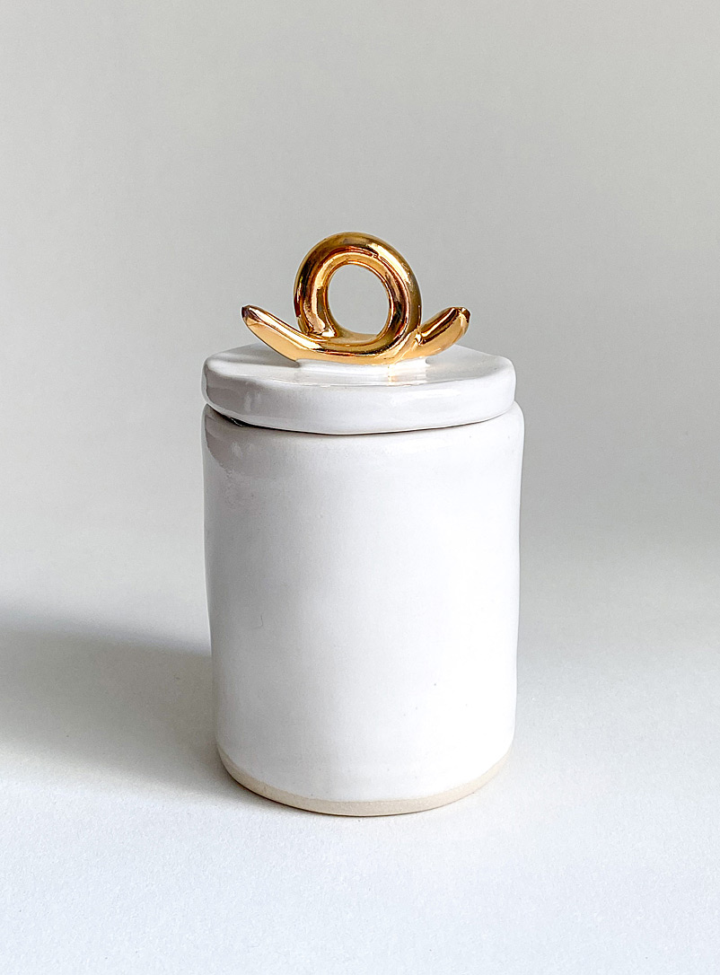 Meg Does Pottery White Gold loop ceramic stash jar