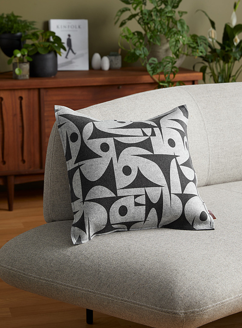 "Lorraine Tuson Patterned Grey Graphic merino wool felt cushion  18"" x 18"""