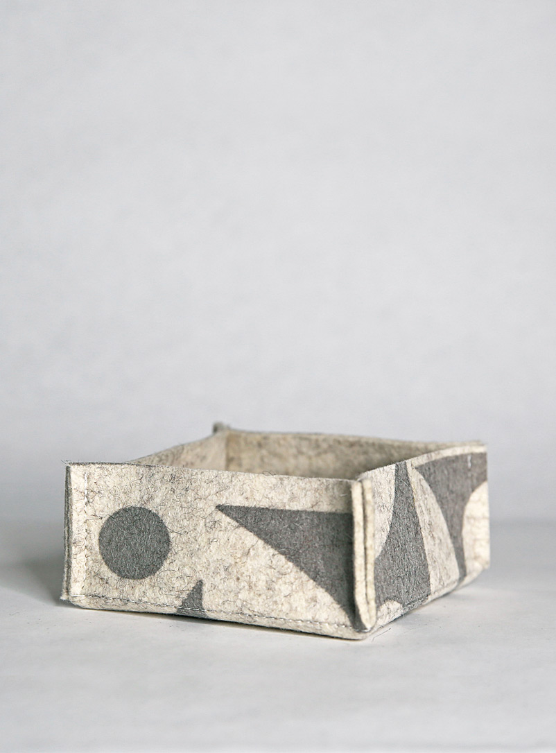 Lorraine Tuson Grey Graphic merino wool felt storage box  2 sizes available