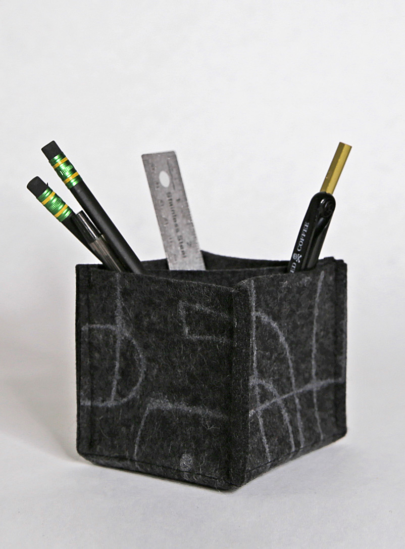 Lorraine Tuson Charcoal Merino felt accessories and pencil holder