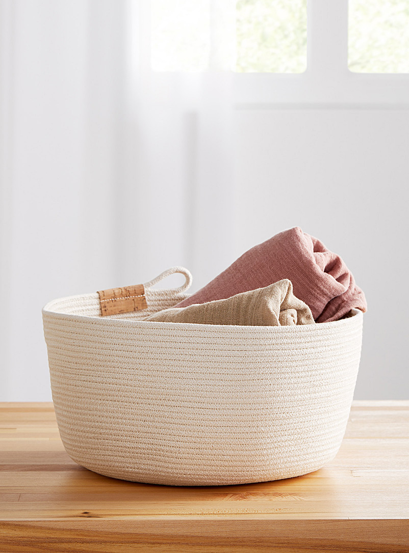 Large rolled cotton rope basket