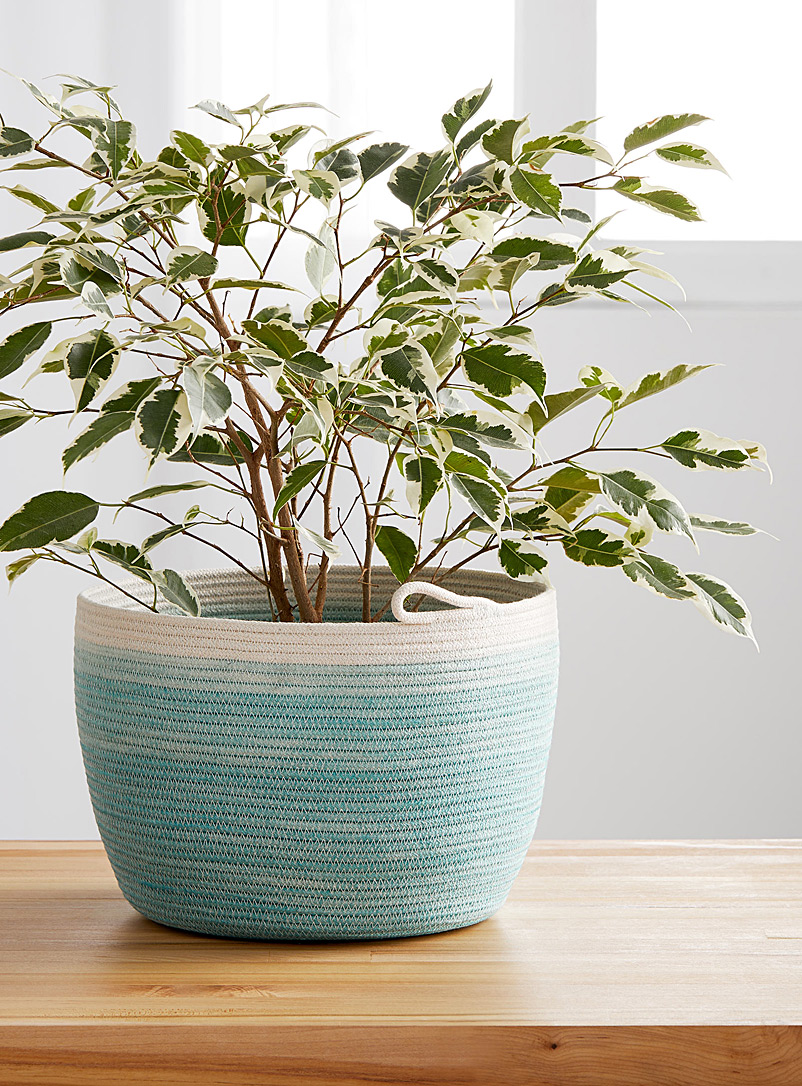 Stamp Stitch Create Teal Rolled cotton rope planter
