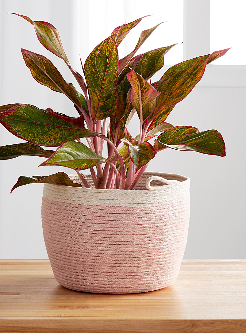 Stamp Stitch Create Pink Rolled cotton rope planter