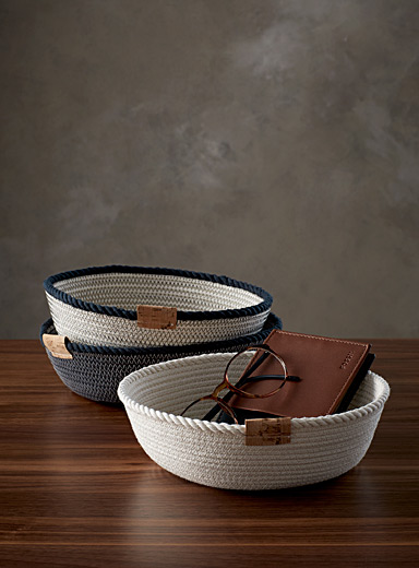 Small rolled cotton rope baskets  Set of 3