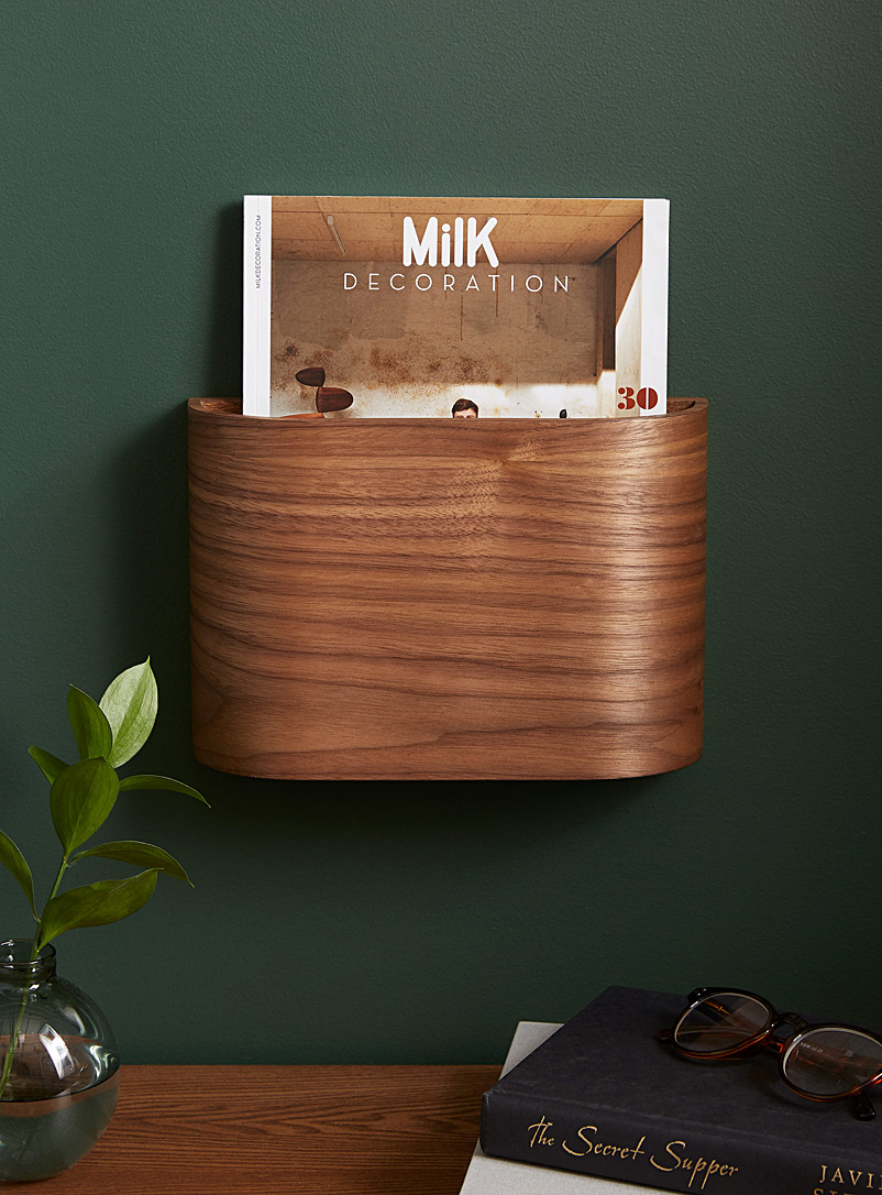 Walnut wall magazine holder