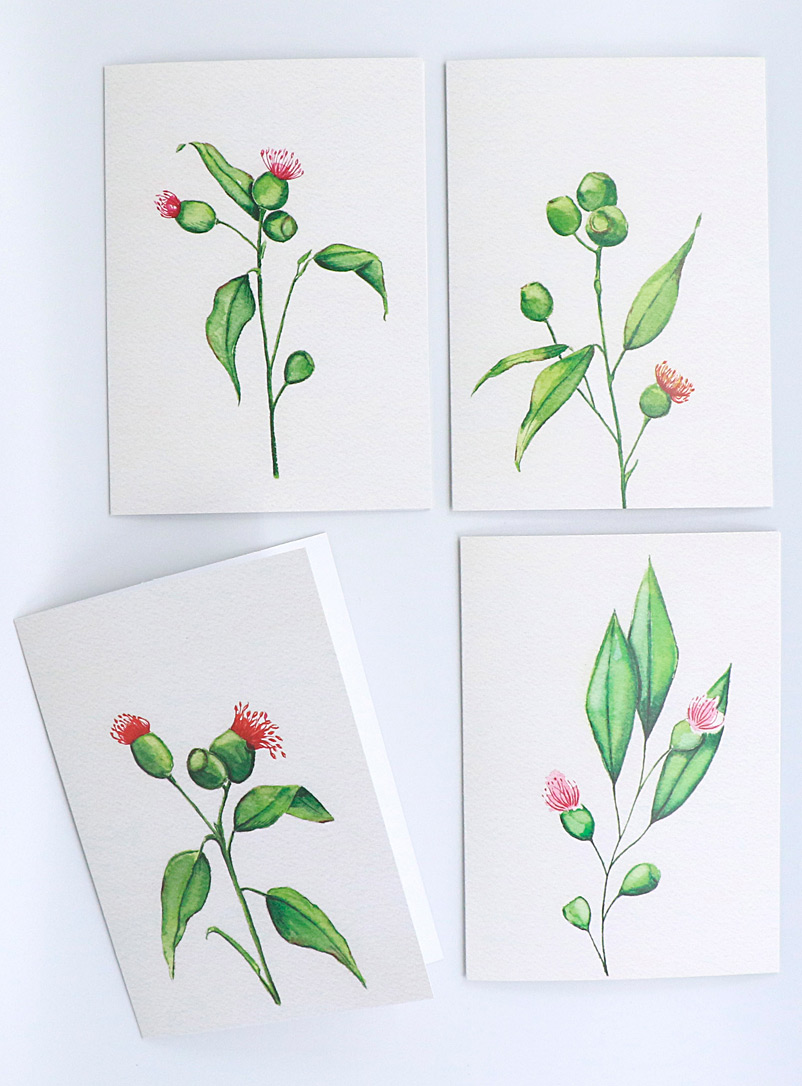 Fiola Green Floral greeting cards  Set of 4