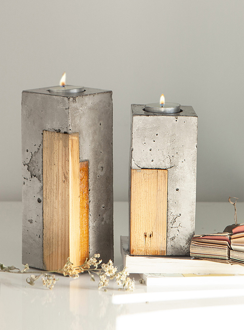 Lucia wood and concrete single candle holder 2 sizes available