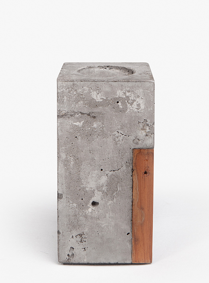 Raphaël Zweidler Assorted Lucia wood and concrete single candle holder 2 sizes available