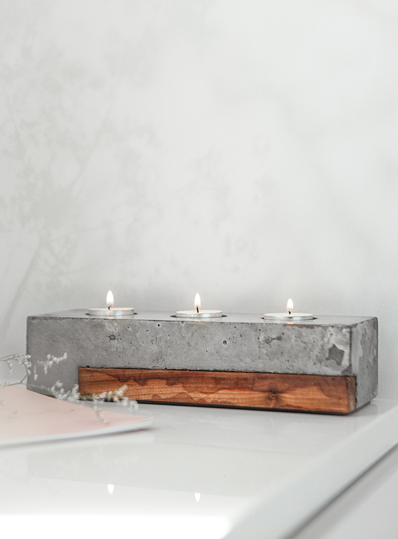 Raphaël Zweidler Assorted Sonoma wood and concrete triple candle holder