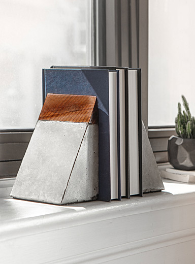 Santo & Johny wood and concrete bookends  Set of 2