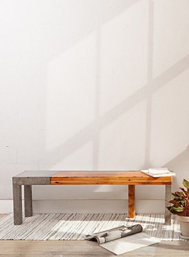 Raphaël Zweidler Concrete and wood  Murray Bill wood and concrete indoor bench  3 lengths available