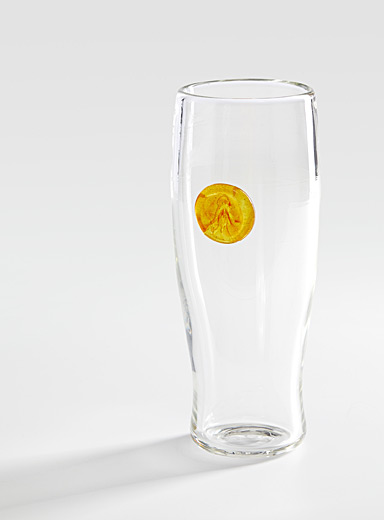 La Méduse Patterned Yellow Blown glass beer glass
