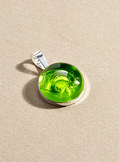 La Méduse Green Blown glass single pendant