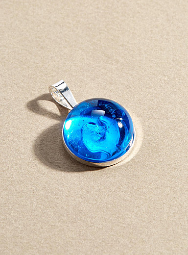 La Méduse Blue Blown glass single pendant
