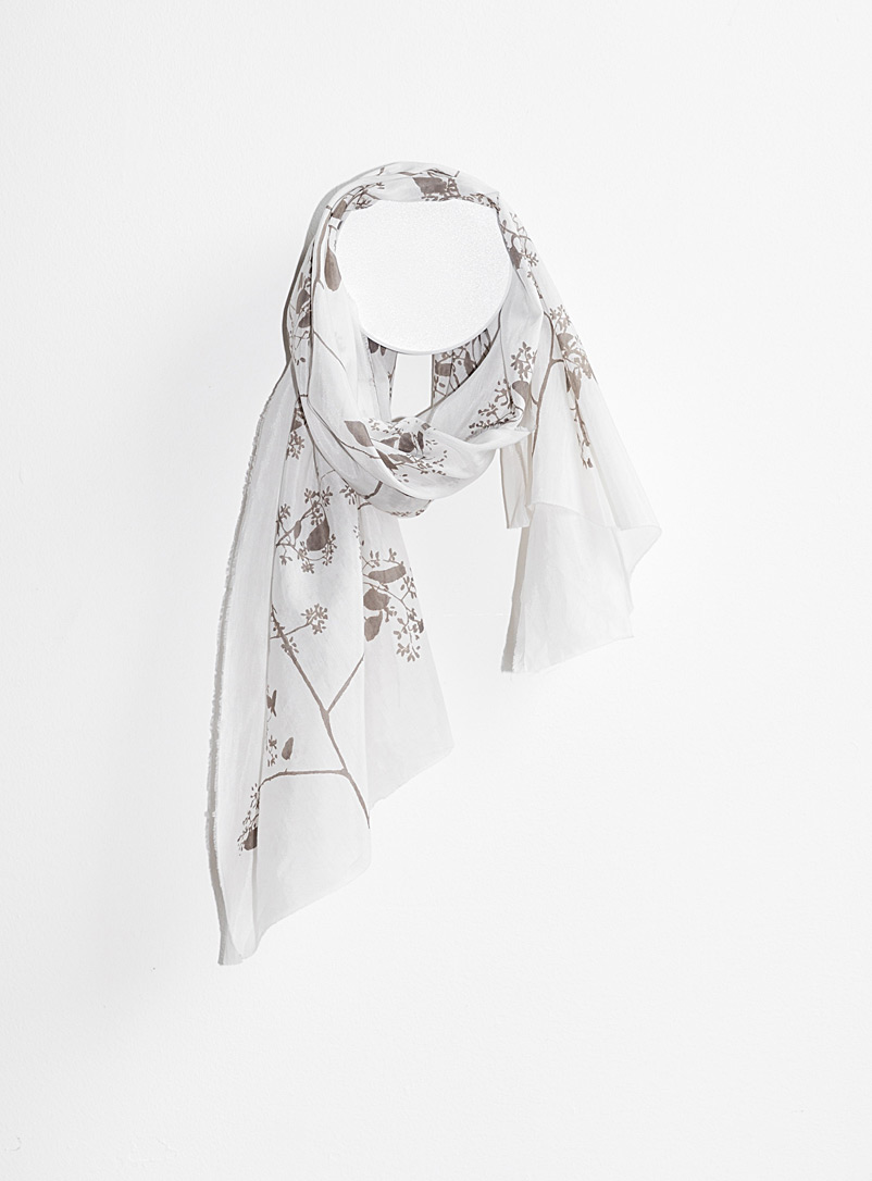 Tania Love: Le foulard Breeze eucalyptus  2 formats disponibles Blanc