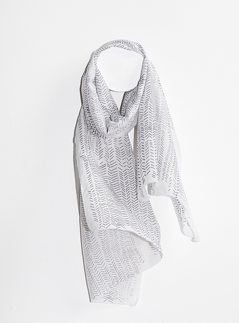 Tania Love: Le foulard Breeze chevrons  2 formats disponibles Blanc