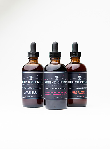 Warm and cool cocktail bitters  Set of 3 bottles