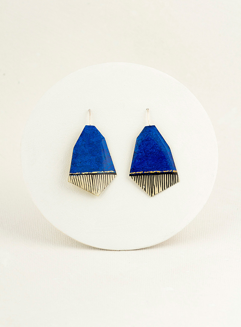 Les Joanneries Dark Blue Small angular earrings