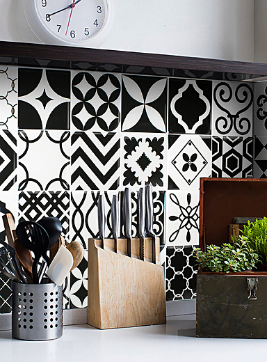 Smart Tiles Black and White Vintage Bilbao self-adhesive tiles  Set of 4