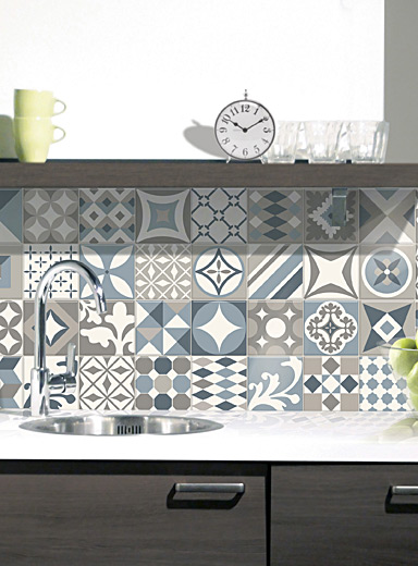 Smart Tiles Baby Blue Vintage Gaudi self-adhesive tiles  Set of 4