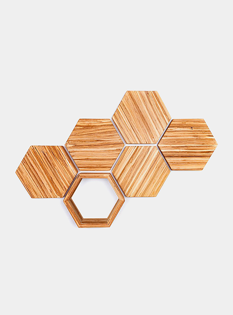 ChopValue Assorted Upcycled chopsticks decorative hexagons wall decor set  6-piece set