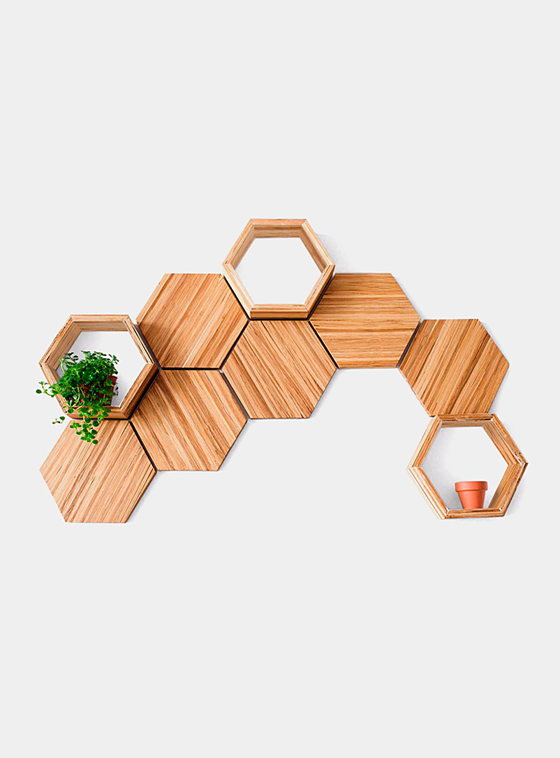 ChopValue Assorted Upcycled chopsticks decorative hexagons wall decor set  9-piece set