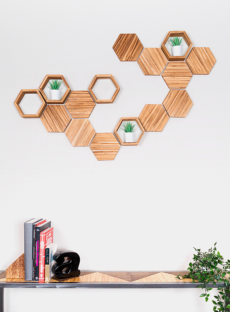Upcycled chopsticks decorative hexagons wall decor set  15-piece set