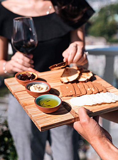 Diagonal band upcycled chopsticks charcuterie platter