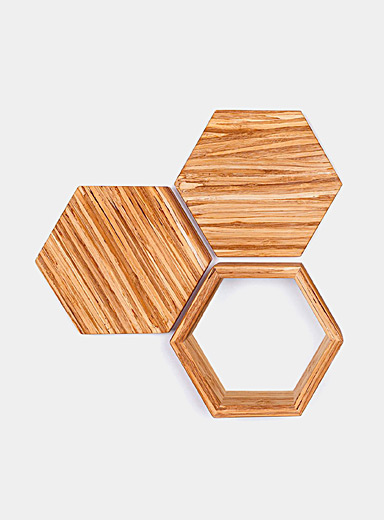 ChopValue Assorted Upcycled chopsticks decorative hexagons wall decor set  3-piece set