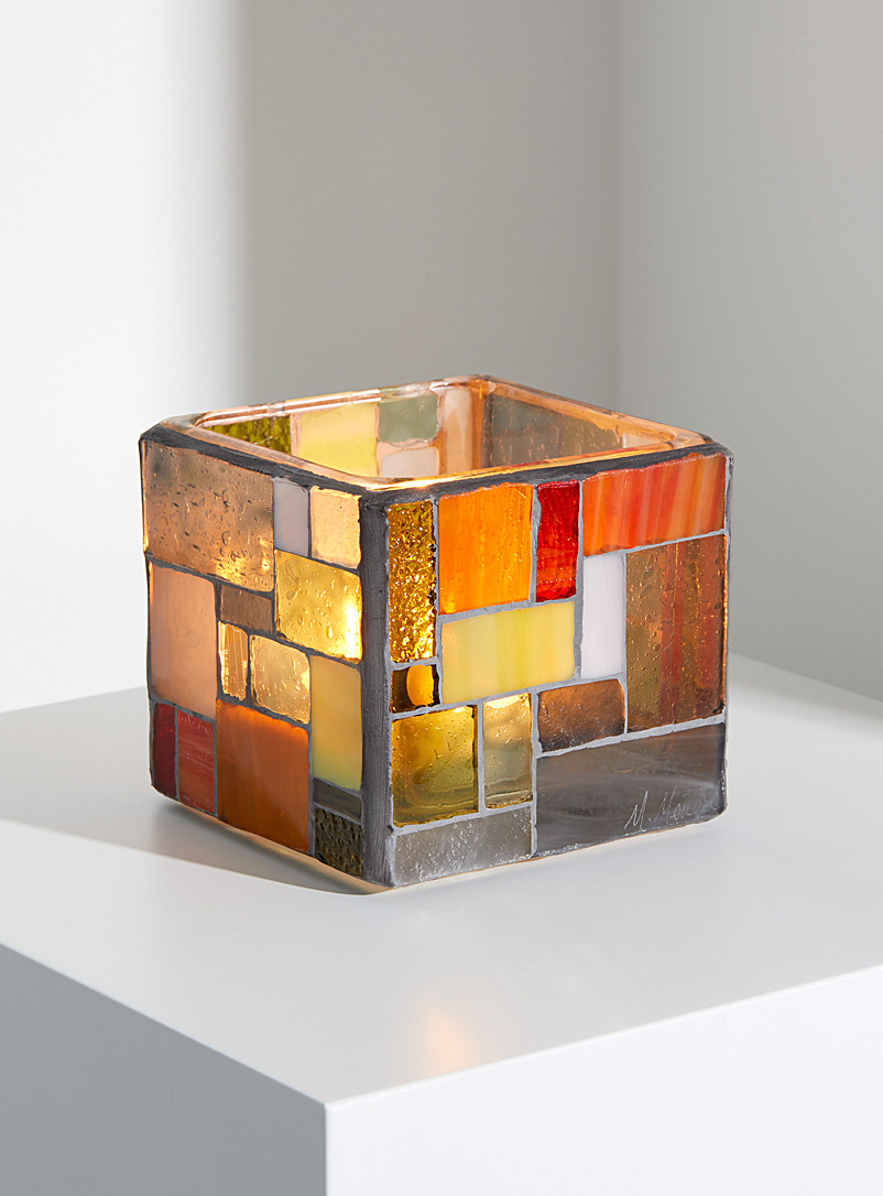 Marylène Ménard Grey Glass mosaic candle holder