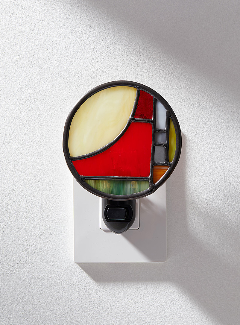 Marylène Ménard Red Contemporary stained glass nightlight