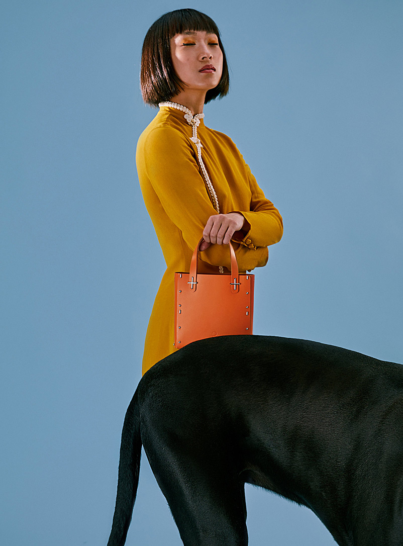 Partoem Orange Domus leather handbag