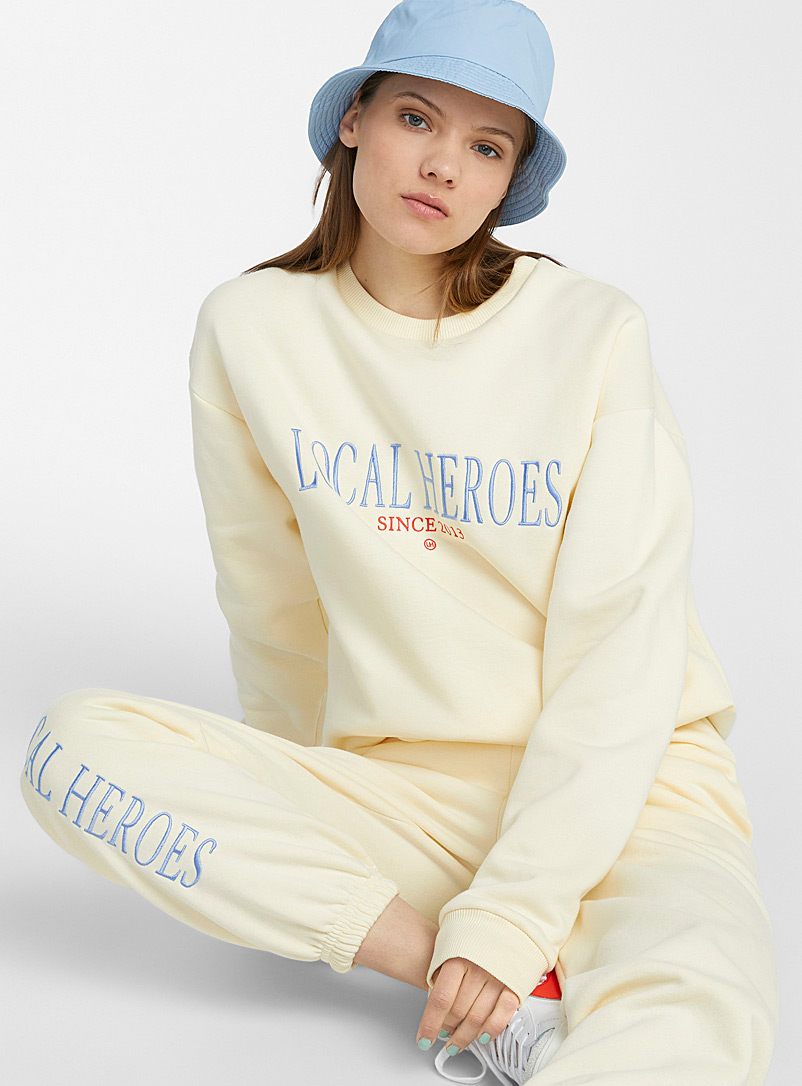 Local Heroes Ivory White Creamy yellow loose sweatshirt for women