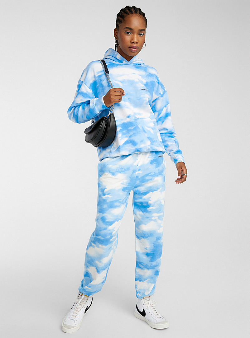 Local Heroes Patterned Blue White cloud hoodie for women