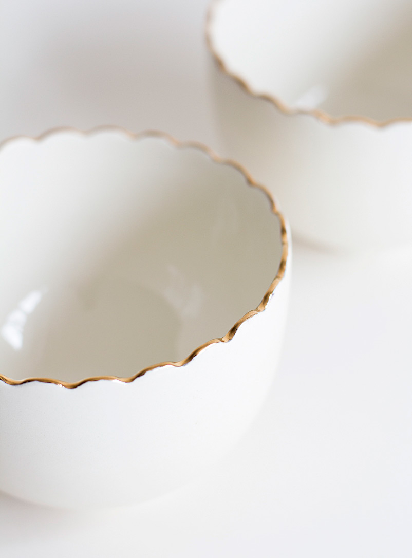 Goye White Gold scallop small bowls Set of 2 or 4