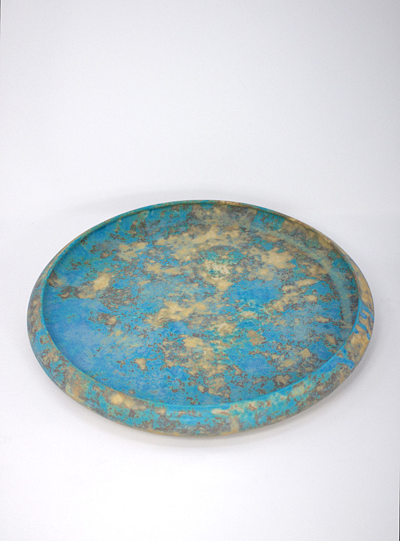 Makiko Hicher Teal Azure ceramic serving platter