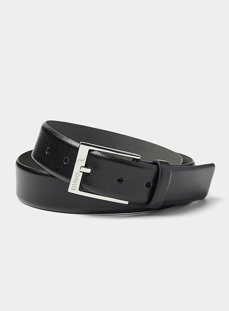 HUGO Black Scarlet topstitch belt for men