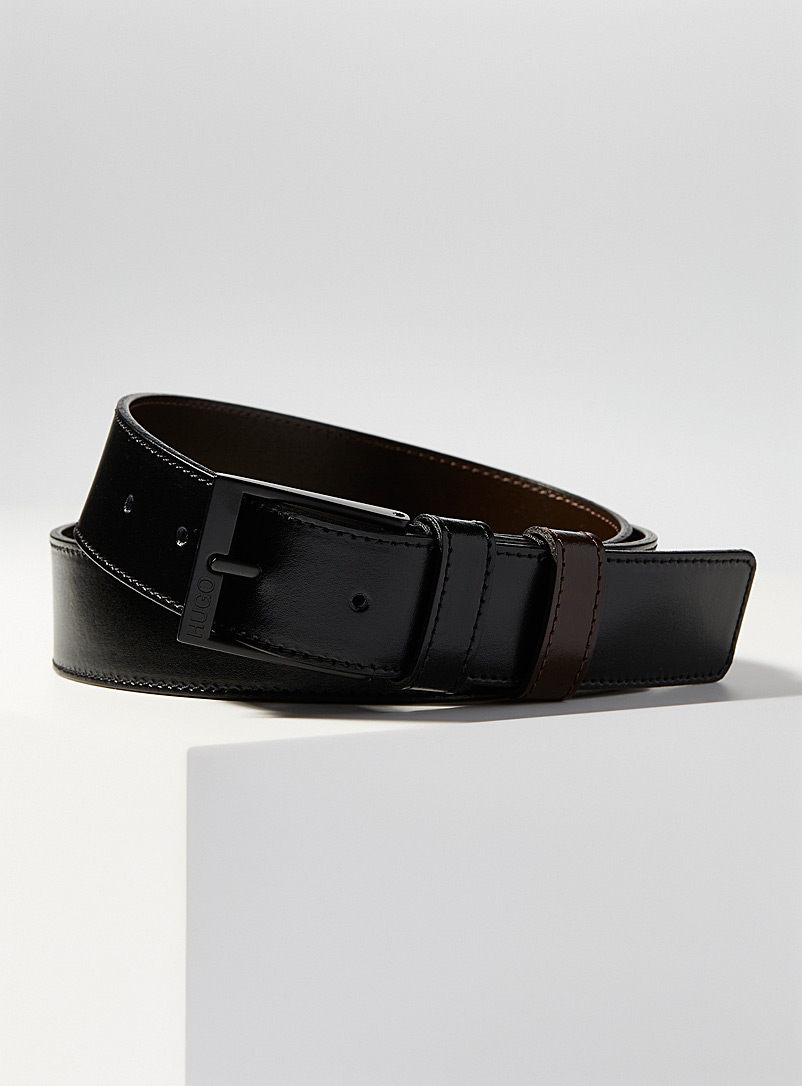 HUGO Black Two-tone reverse leather belt for men