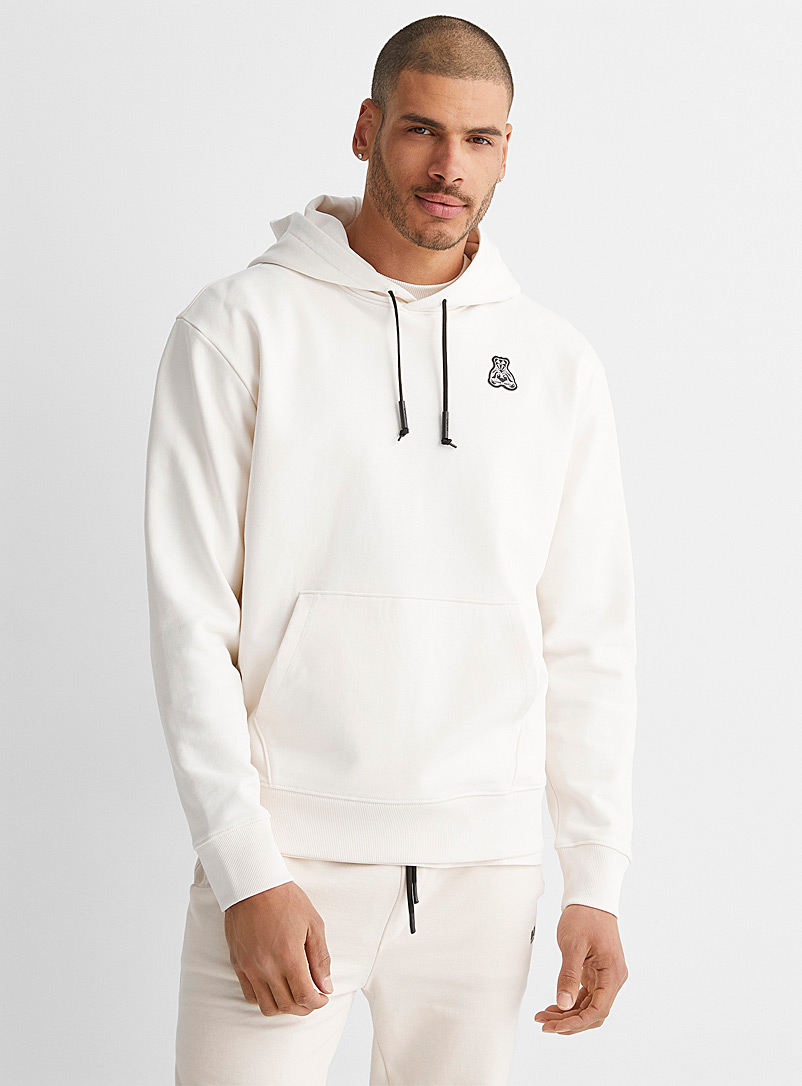 HUGO Ivory White Front and back emblem hoodie for men