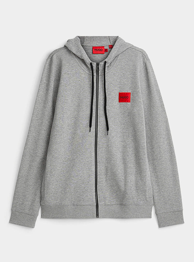 HUGO Grey Logo patch zip-up hoodie for men