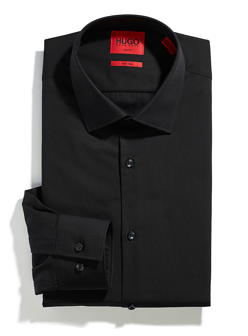 HUGO Black Solid Jenno shirt Slim fit for men