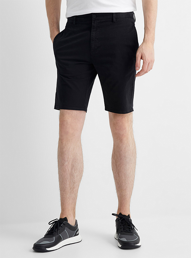 HUGO Black Deep black chino short for men