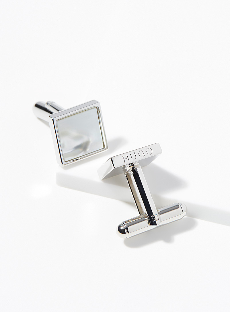 HUGO Silver Pearly cufflinks for men