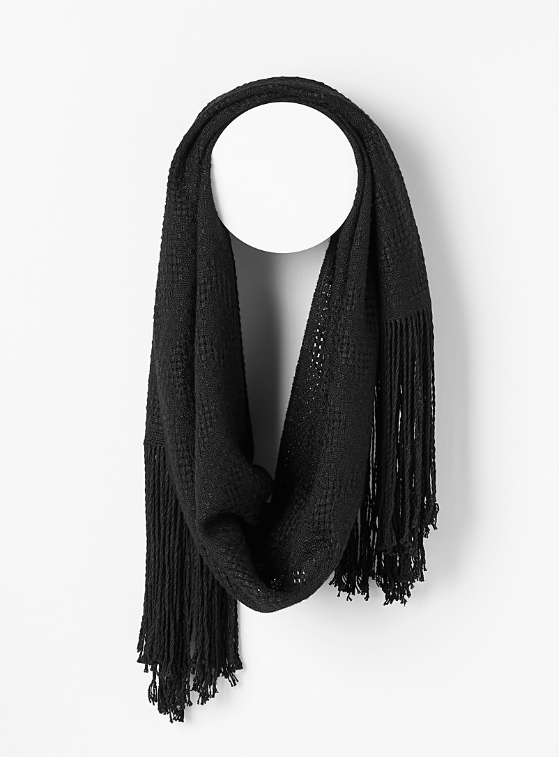Atelier Monique Ratelle Black Diamond openwork bamboo scarf