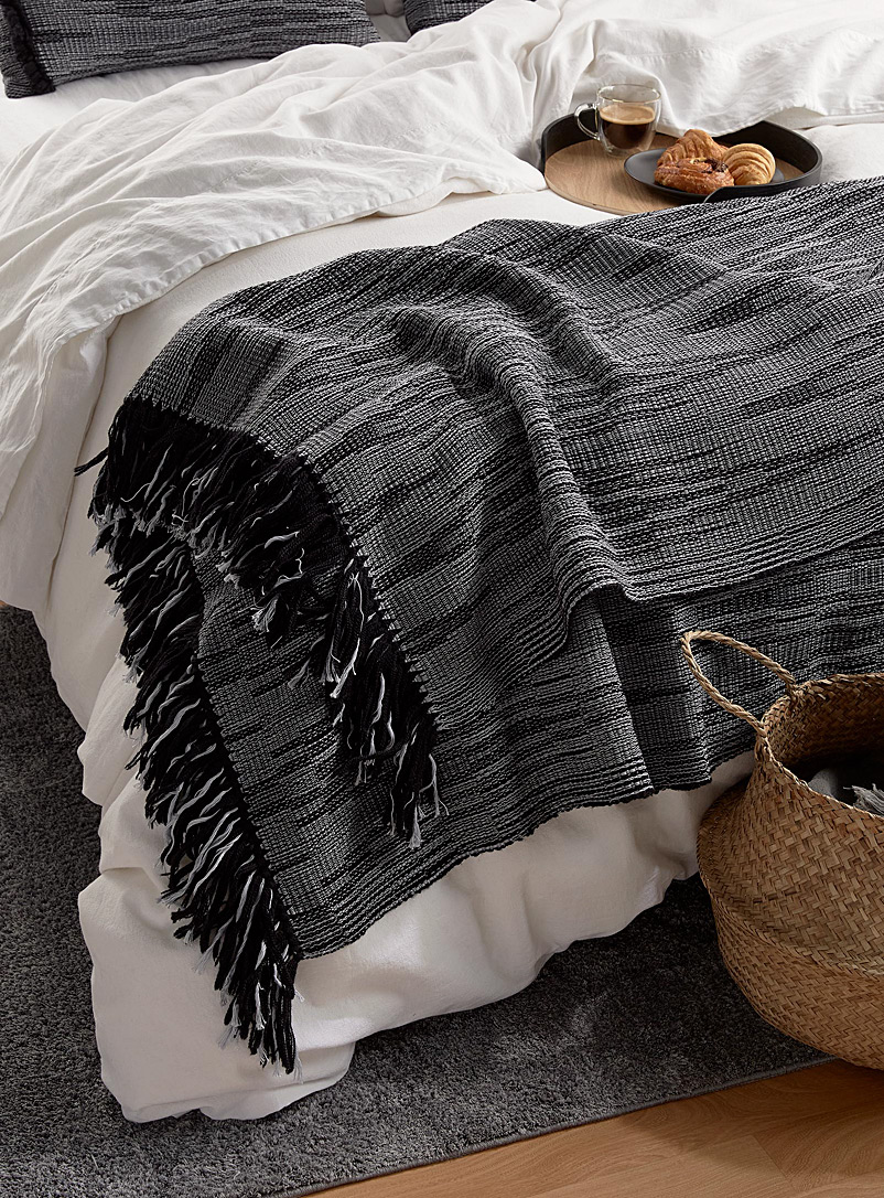 Atelier Monique Ratelle Grey and Black  Graphic shades throw
