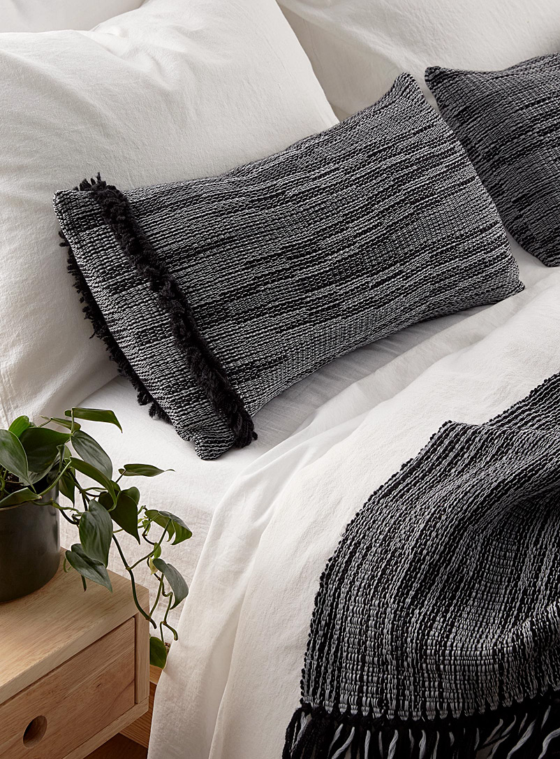 Atelier Monique Ratelle Grey and Black  Graphic shades cushion