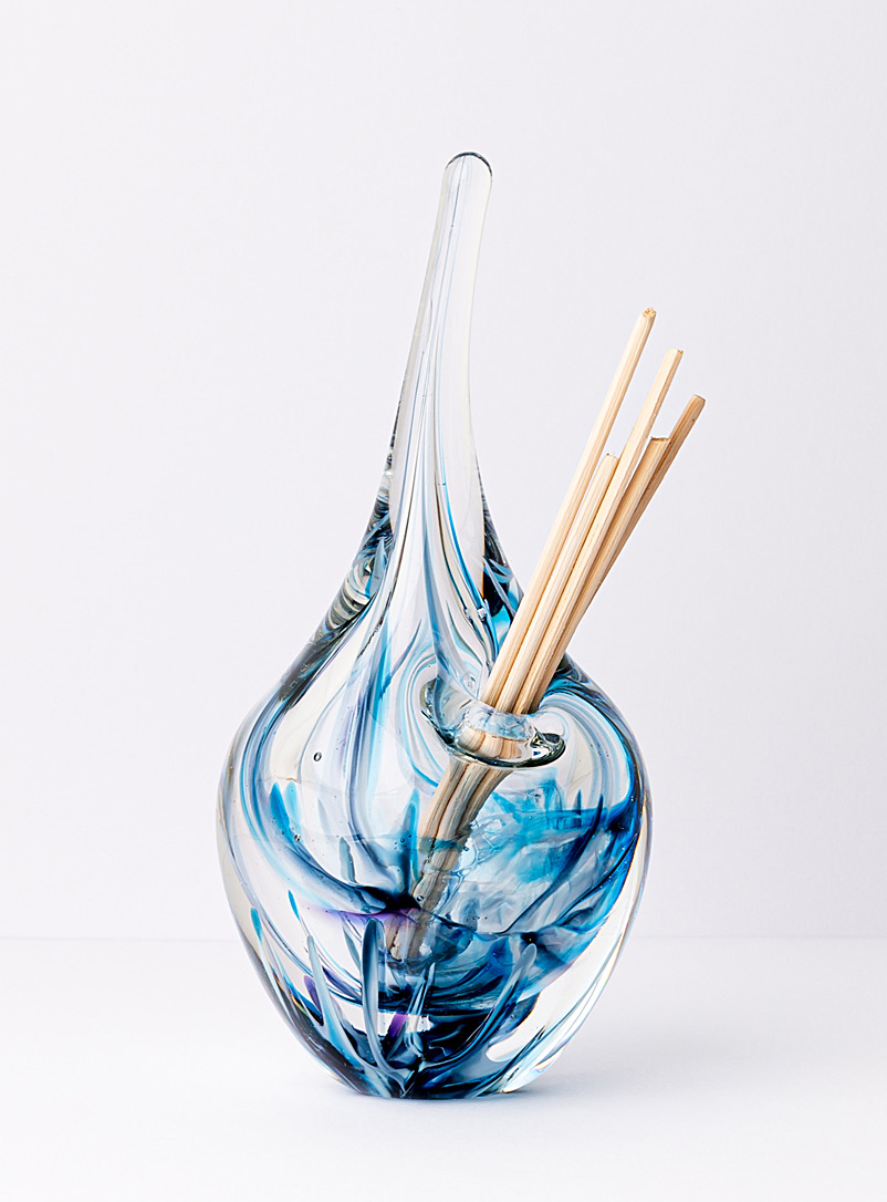 Isabelle Alepins Blue Glass and reed essential oil diffuser